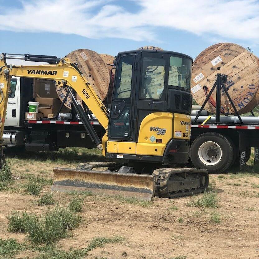 excavator digging earth